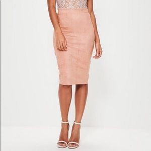 Missguided Faux Suede Pink Midi Skirt
